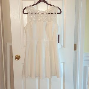 According to Love White Lace Skater Dress